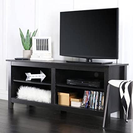 Amazon Com Wood Tv Stand For Tvs Up To 60 Multiple Finishes