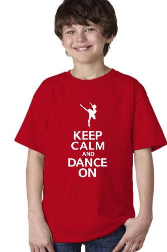 Gildan KEEP CALM AND DANCE ON Youth Unisex T-shirt / Cute Ballet Dancing, Dancer Tee-Red-X-Small