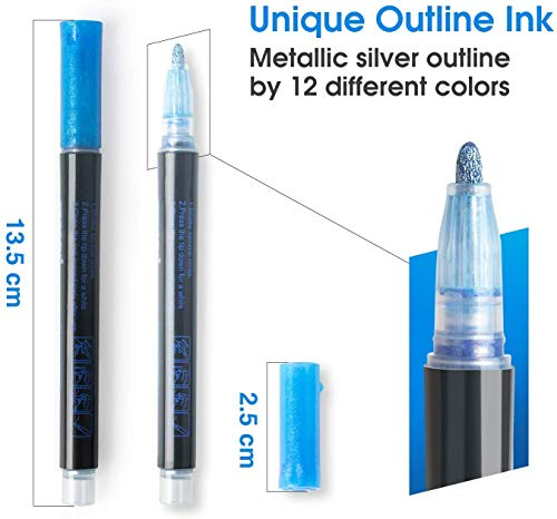 Double Line Outline Pens, SmileStar 12pcs Two-Line Color pen Outline Metallic Markers Highlighter Writing Drawing Pens for Gift Card Making, Art Rock Painting, Coloring Books, Craft Drawing Doodling