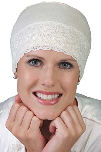 Cardani Lace Sleep Cap and Hat Liner in Bamboo - Chemo, Cancer Hat Cameo Pink with White (Cameo Hat)