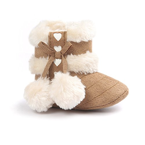 Estamico Baby Girl Winter Fur Snow Boots Toddler Shoes Bowknot Khaki 6-12 Months
