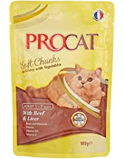 Procat Soft Chunks in Gravy with Beef And Liver Cat Food Pouch, 100g