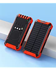 FANGZI Ström bankSolar Charger Power Bank 20000mah Trådlös laddare Powerbank Inbyggd kabel för 12 Pro 11 Xiaomi Samsung S20 PoverbankRöd