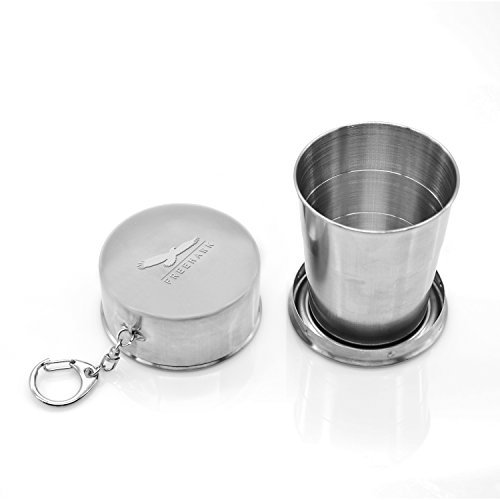 Freehawk® Portable Collapsible Stainless Steel Pocket Cup, Medium Size 150ml, Telescopic, Folding for Outdoor Travel, Camping, Picnic