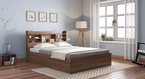 Urban Ladder King Engineered wood Bed With Storage   Walnut Finish_Brown
