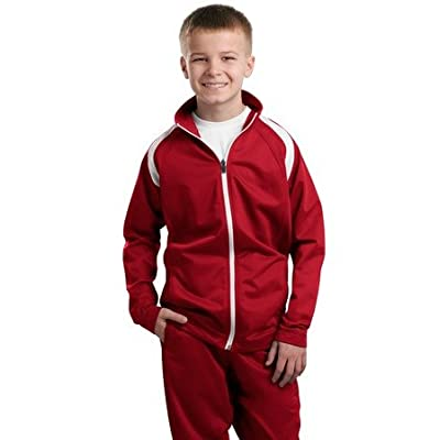 Sport-Tek - Youth Tricot Track Jacket. - True Red/White - Large