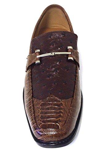 ... Pazzini Mens Chaussures Habillées Mode Mocassins Décontractés Slip Sur  Lézard Dautruche Style Italien Imprimé Serpent Marron ... 2c58bcd532b1