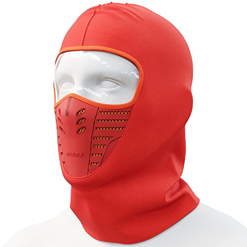 Cevillo Balaclava Face Mask | Windproof and Dustproof Ski Mask Hoodie Style | Skiing and Outdoor Sports | Polyester Cotton Headwear | Men and Women (Orange)