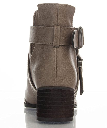 Strappy Breckelle Booties Pu Bronco Beige Out 11 Ankle Vegan Leather Cut Toe Closed Buckle wSCZrqIxS