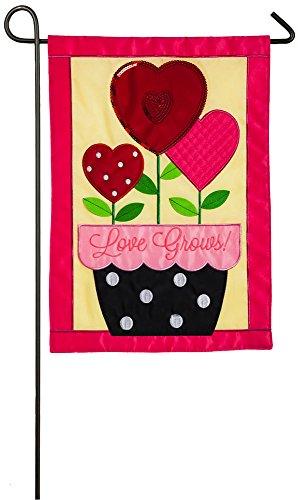 Evergreen Love Grows Applique Garden Flag, 12.5 x 18 inches For Sale