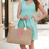 Ladies Monogrammed Burlap Tote Bag - Monogram Purse - Shopping Tote