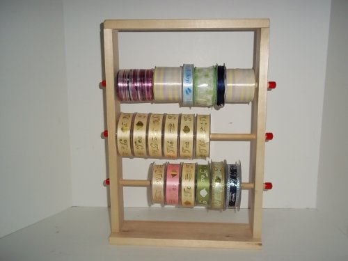 Ribbon Spool Holder (Wood Storage Natural Ribbon Rack Tabletop Curling Spool)