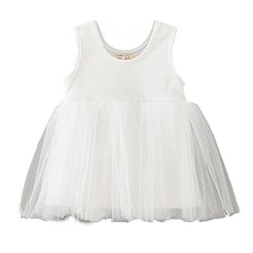 Baby girl's party sleeveless dress white - 5