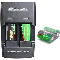 SUPEREX® 4 PCS 3volt 400 mAh CR2 15270 Batteries + Car Charger Dual Rapid Rechargeable Battery Charger for 3V CR2 Lithium Batteries