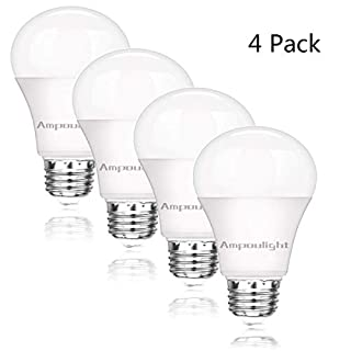 LED Light Bulb 100W Equivalent, A19 Daylight 5000K 1600LM Non-Dimmable E26 Medium Screw Base 15W Light Bulb (4 Packs) by Ampoulight