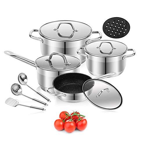 Cookware Set Stainless Steel Pots and Pans Sets, Nonstick Kitchen Cookware Set, Saucepan, Casserole, Frypan, 3pcs stainless steel tools, Bakelite mat, 12 Piece (12-Piece)