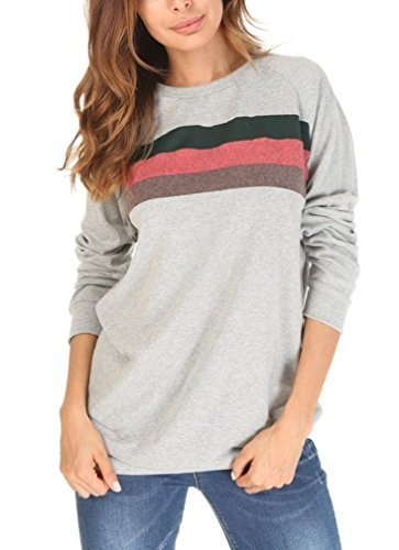 She's Style Women's Cotton Knitted Long Sleeve Round Neck Loose Casual Lightweight Tunic Sweatshirt Tops Color 2 Size M by She's Style