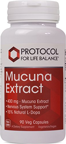 Velvet Bean (Protocol For Life Balance - Mucuna Pruriens - Velvet Bean Extract with 15% L-Dopa for Nervous System Support - 90 Veg Capsules)