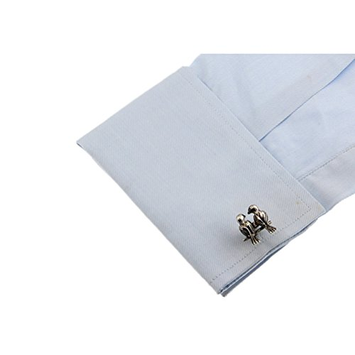 Lovebirds 2 Birds Black Cufflinks Cuff Links by Vcufflinks (Image #3)