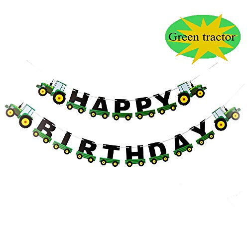 Weimaro Farm Green Tractor Happy Birthday Banner, Tractor Time Party Supplies for Tractor Farm Toddler John Deere Themed Birthday Decorations -