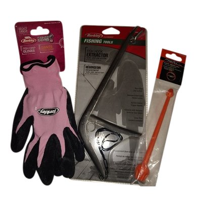 A Gift for the Fisherwoman: Pink Berkley fish holding gloves, metal Berkley fish hook remover for large fish, and Ready2Fish plastic hook disgorger for smaller ()