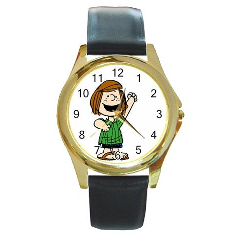 (Snoopy Peppermint Patty Character Round Gold Metal)