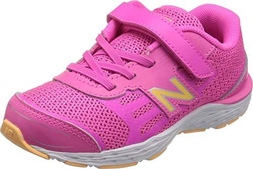 New Balance Girls' 680v5 Hook and Loop Running Shoe, Light Peony/Light Mango, 2.5 W US Little Kid
