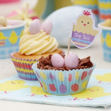Easter Chick Cupcake Cases and Toppers