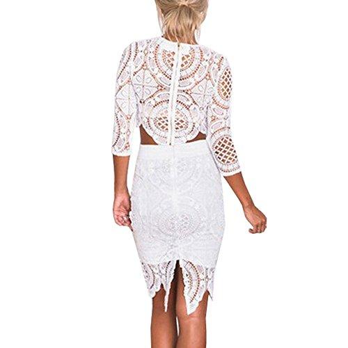 HLBandage Floral Lace 2 Piece Half Sleeve Bodycon Bandage Dress Blanco ...
