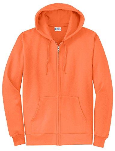 Port & Company Men's Classic Full Zip Hooded Sweatshirt L Neon Orange