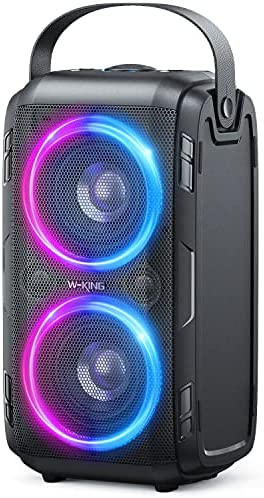 80W(100W Peak) Bluetooth Speaker, W-KING Enormous 105dB Sound Moveable Wi-fi TWS Audio system with BassUp Expertise, Blended Coloration LED Lights, TF Card, USB Playback, Massive for House, Celebration, Non-Waterproof