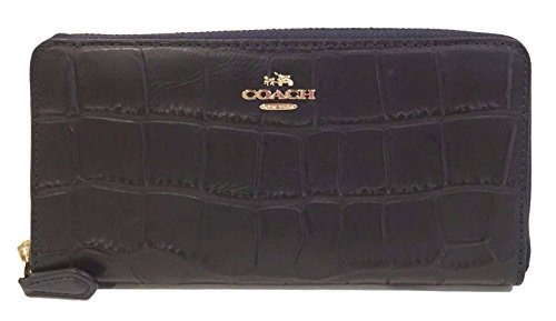 COACH Croc Embossed Leather Accordion Zip Around Wallet in Light Gold / Midnight Blue - Usa Coach Outlet