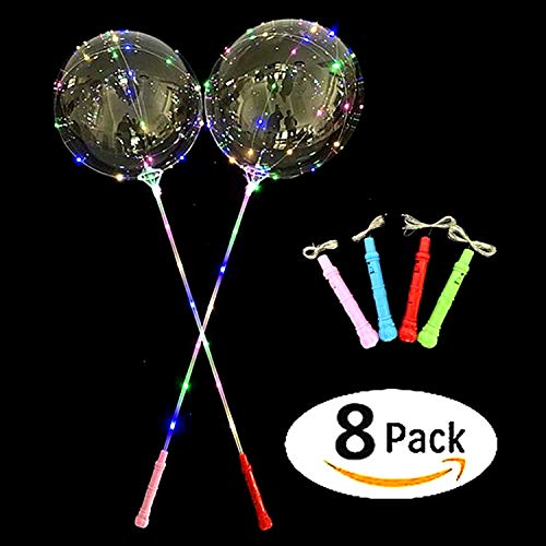 LED Light Up Bobo Balloons,8 Packs Flashing Handles,20 Inches Bubble Bobo Balloons,70 cm Sticks,Christmas Birthday Party Decoration -