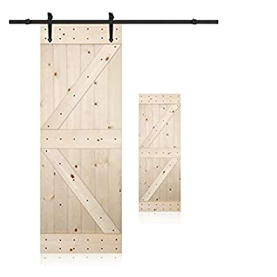 LUBANN 28/30 / 36/38 / 42 in. x 84 in. Unfinished British Brace Knotty Pine Solid Wood Barn Door Slab with Sliding Door Hardware Kit