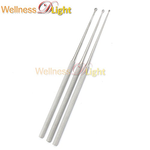 WDL BUCK EAR CURETTES #1, 2#3 BLUNT STRAIGHT 6.5'' VETERINARY ENT 3 PCS INSTRUMENTS by WellnessD'Light® (Image #1)