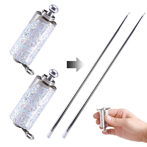 2 Pieces Metal Appearing Cane, Magic Wand Magic Cane for Professional Magician Stage Portable Pocket Arts Staff Magic Tricks Accessories Perfect for Adults, Gifts, and Magicians (Silver, 43.30 Inch)