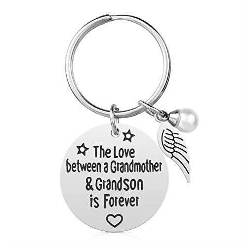 - Grandma Gift from Grandson - Stainless Steel Grandmother Grandson Keychain Jewelry, The Love Between Grandmother & Grandson is Forever, Gifts for Mother's Day