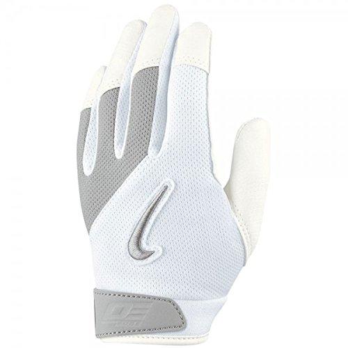 Nike Boys Diamond Elite Edge II Tee Ball Batting Glove (White (010)  /Grey/Silver/White, MD/LG)