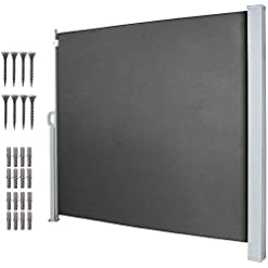 Garden and Outdoor tonchean 63″ x 118″ Retractable Side Awning, Waterproof Outdoor Privacy Screen, Retractable Room Divider Fence for Patio, Garden, Pool and Terrace patio awnings