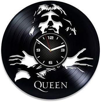 Kovides Queen Clock Freddie Mercury Vinyl Clock Queen Gift for Man Queen Vinyl Record Wall Clock LP Clock Freddie Mercury Gift 12 inch Clock Rock Decor Freddie Mercury Wall Clock Large