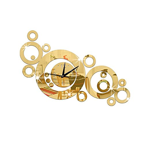 - MCC Wall Clock Mirror Circle Round DIY 3D Wall Sticker Clock , gold