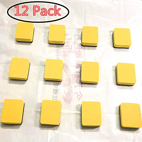 Cherry 12 Pcs Magnetic Dry Erase Whiteboard Erasers Square Magnetic Whiteboard Dry for Home, Teacher Supplies Office and School Classroom - Yellow