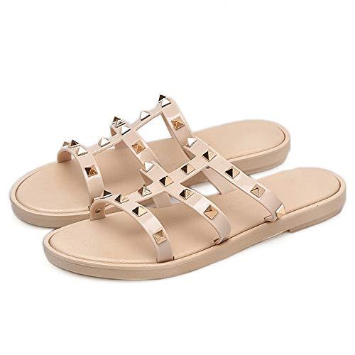 Alfalfa Plant Women Slides Summer Rivet Slippers Women Shoes Flip Flops Slide Sandals Upstream Lady,Beige R,5.5 (Best Shoes For Pigeon Toed Toddler)