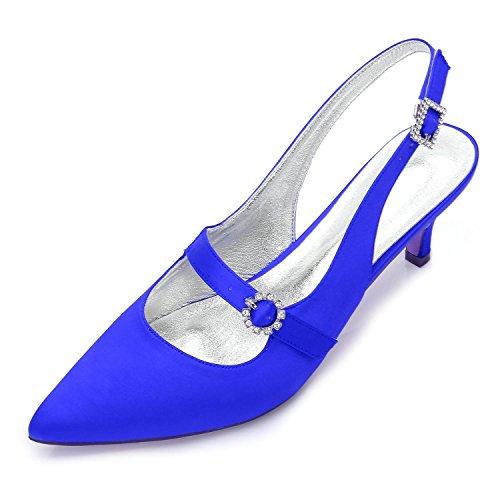 Tamaño Talón Noche yc 99634 Nupcial Low Mujer Alto Flor Prom Boda Para Blue Del Zapatos Mid Kitten L Platform 12 6XTqaa