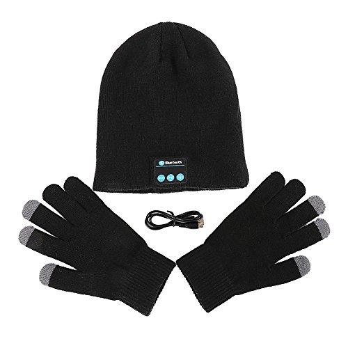 Homedeco Soft Warm Beanie Hat Wireless Bluetooth Smart Cap Headset Headphone Speaker Mic Bluetooth Hat with Touchscreen Gloves (Black)