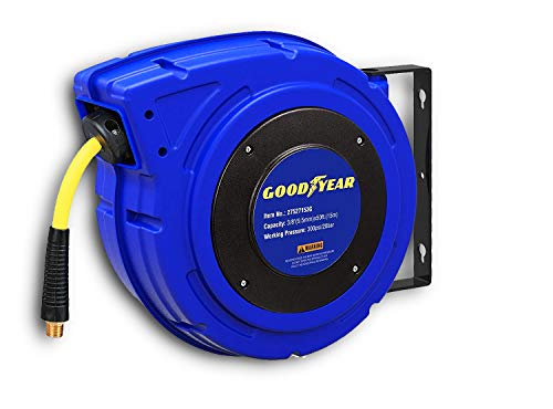 Goodyear 27527153G Enclosed Retractable Air Compressor/Water Hose Reel with 3/8 in. x 50 ft. Hybrid Polymer Hose, Max. 300PSI (Best Hose And Reel)