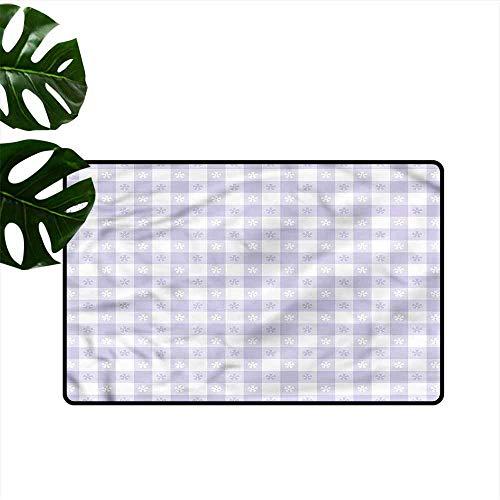 HOMEDD Dog Doormat,Lavender Classic Gingham Pattern,Easy Clean Rugs,31