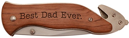 Handsome Rosewood Frame (ThisWear Best Dad Ever Laser Engraved Stainless Steel Folding Survival Knife)