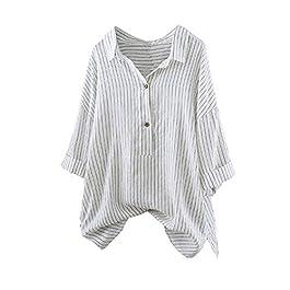 Lazzboy Womens Linen Striped Button Up Long 3/4 Sleeve Blouse Top T Shirt