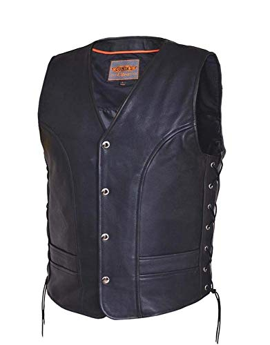 Ultra Men's Motorcycle Leather Vest,Black,Size - Small